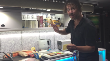 18 July 2017 - Jay making a sandwich on tour bus