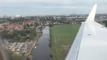 9 july 2017 - view out the plane side window landing on the runway